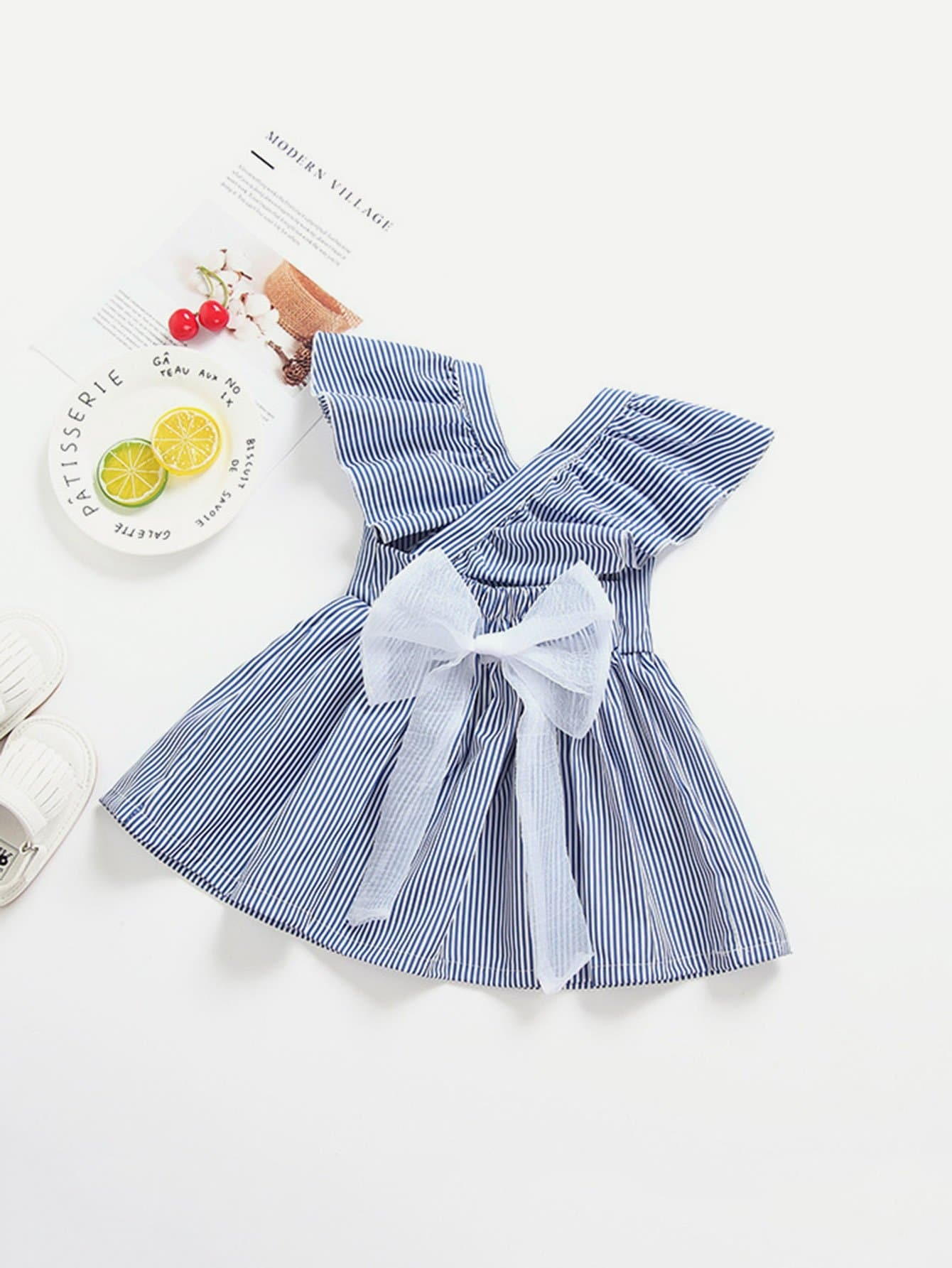 Girls Surplice Tie Waist Pinstriped Dress
