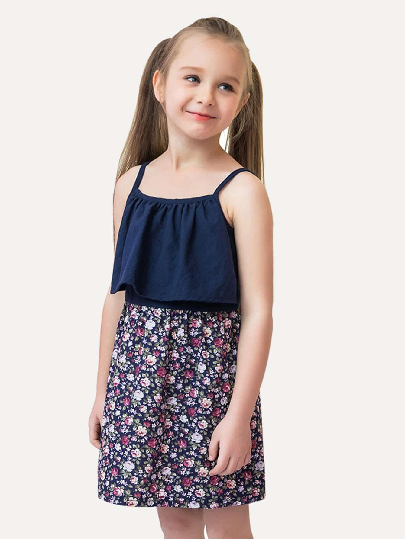Kids Calico Print Cami Dress calico print faux pearl detail cami dress
