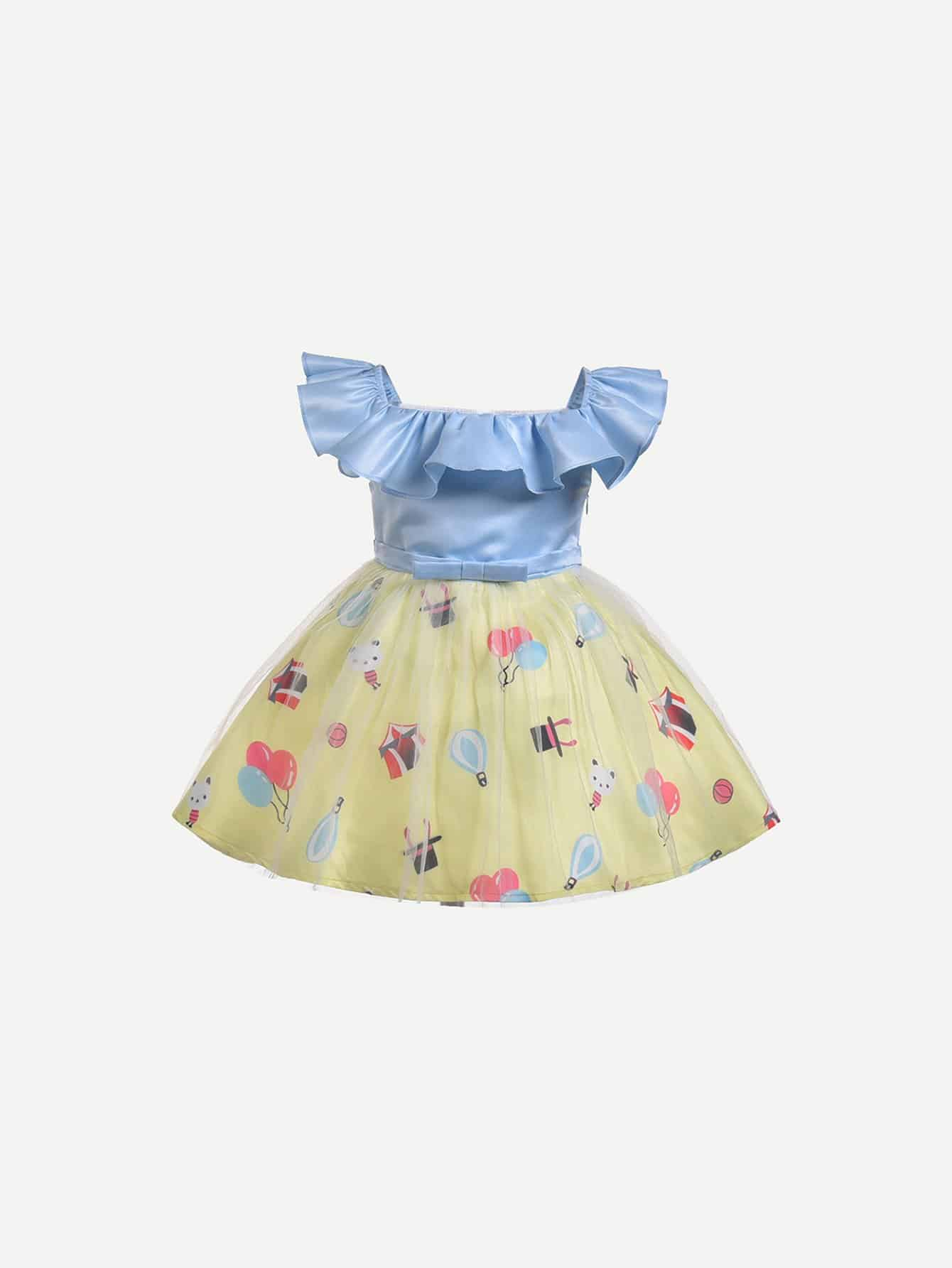 Kids Ruffle Trim Tie Detail Contrast Mesh Dress contrast stripe trim pearl detail vest