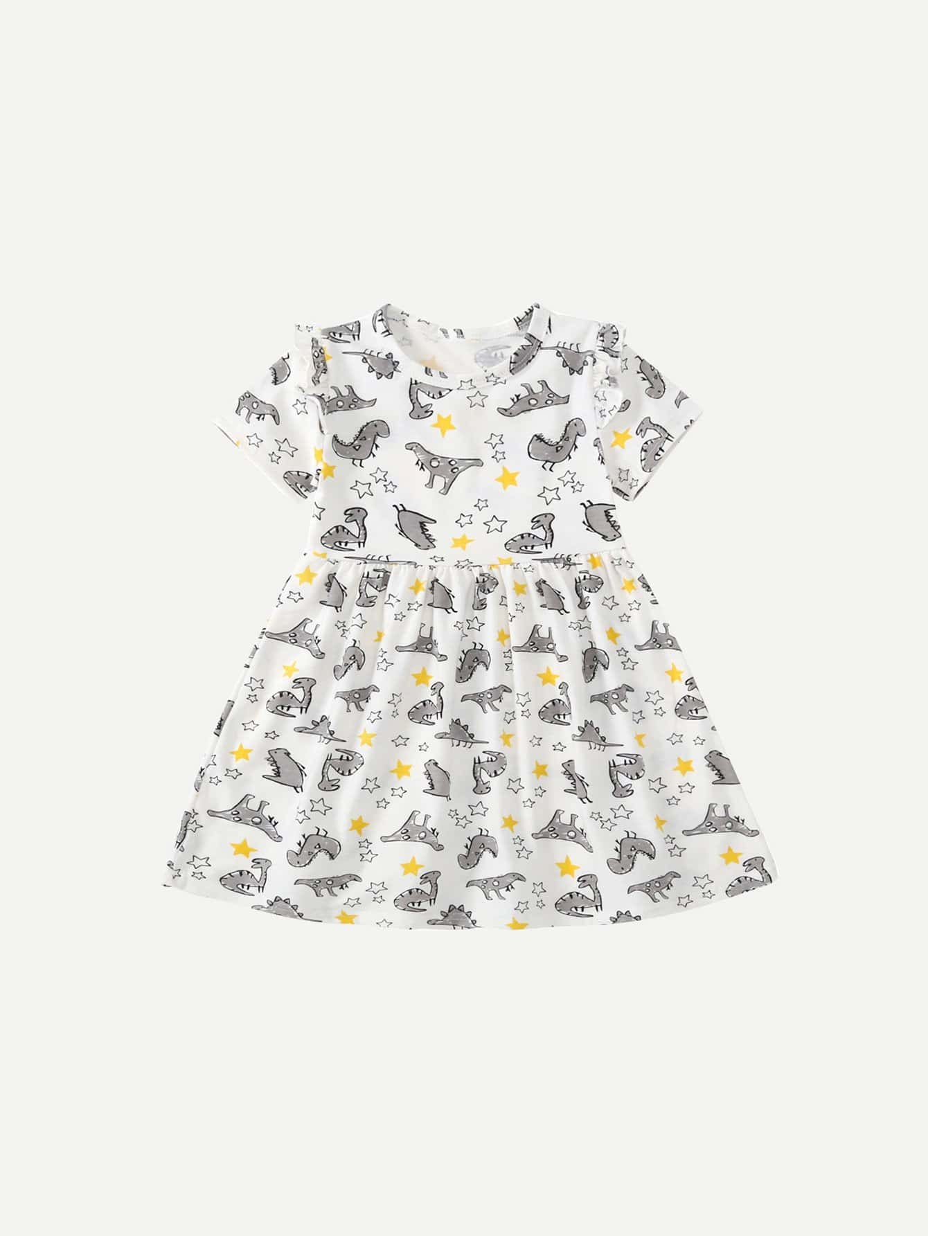 Girls Cartoon Dinosaur Print Dress