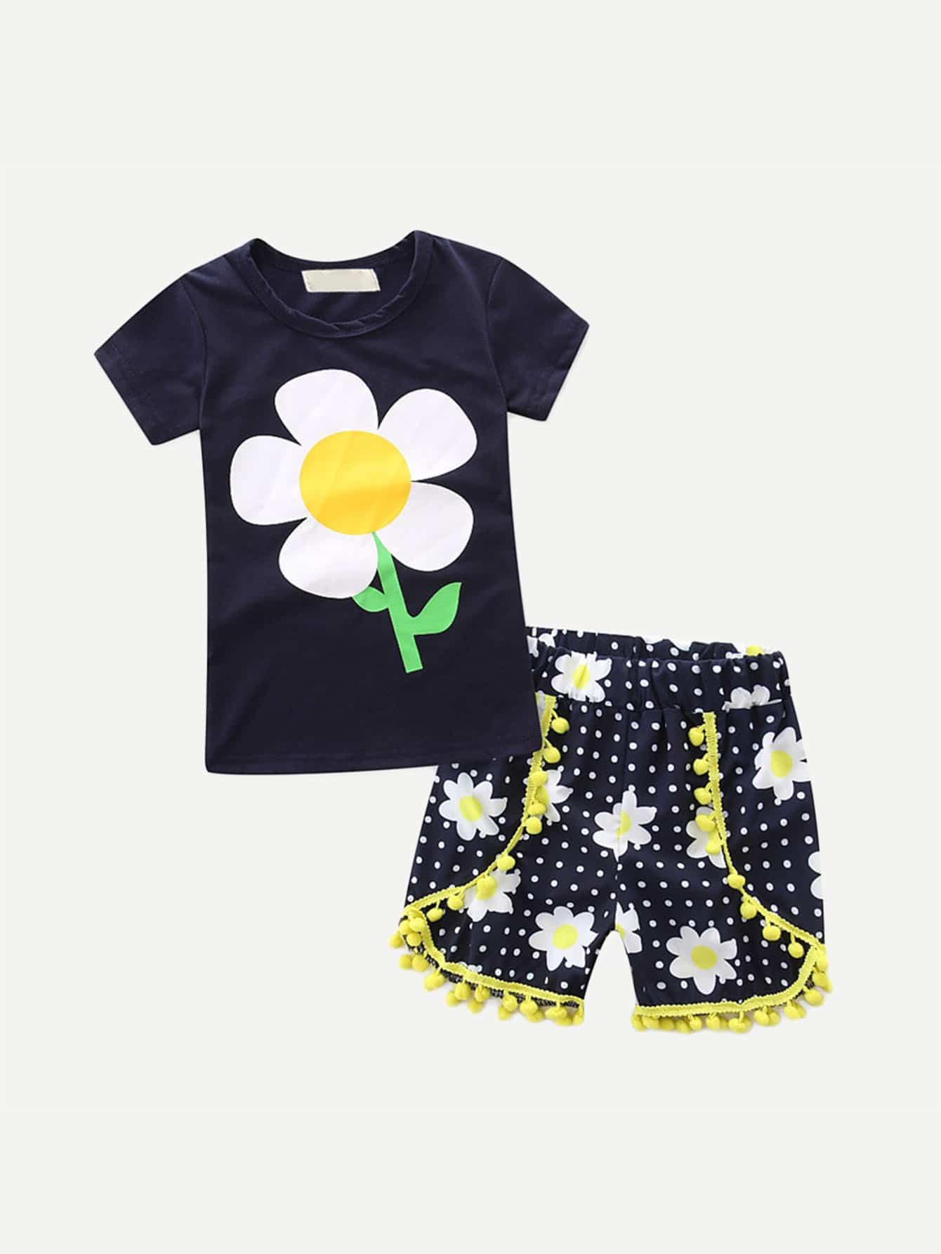 Купить Ткани для детей с цветной печатью с шортами Polka Dot, null, SheIn