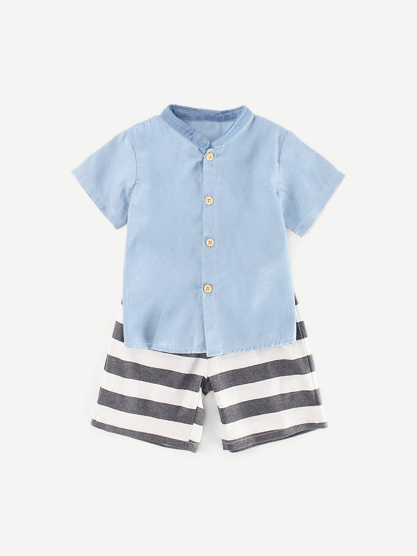 Kids Plain Blouse With Striped Drawstring Shorts kids plain denim blouse