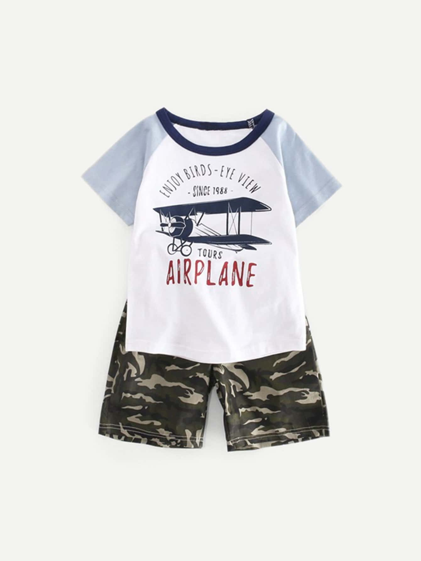 Kids Letter Print Tee With Camo Shorts dinosaur print tee with shorts
