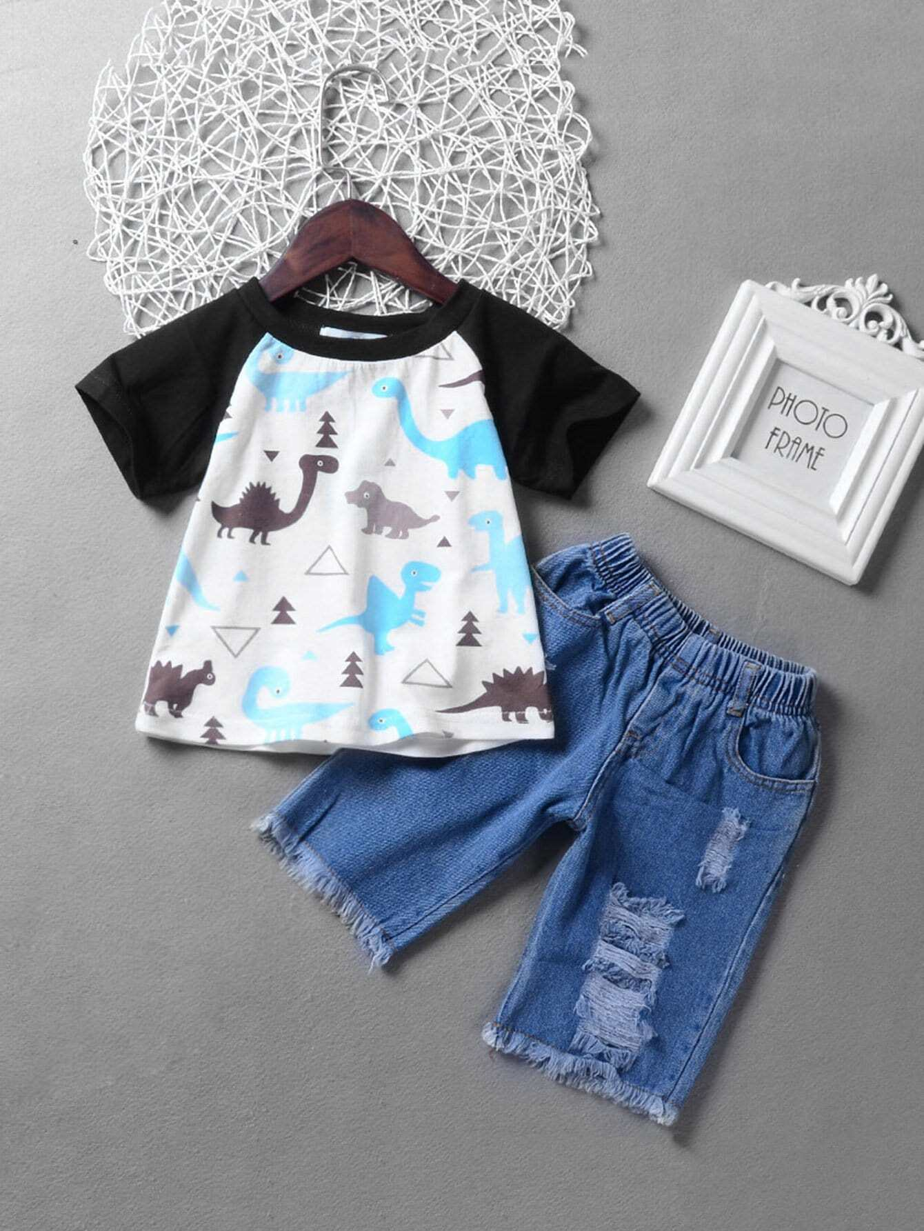 Kids Cartoon Dinosaur Print Tee With Destroyed Denim Shorts kids graphic printed tee with shorts