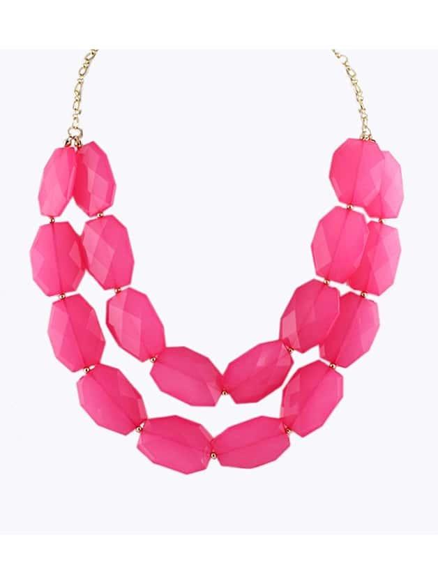 Hotpink Beads Doublelayer Zinc Alloy Shorts Women Choker Statement Necklace New 2014 Trendy Summer Designer