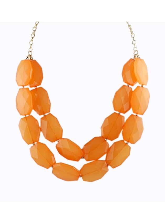 Orange Beads Doublelayer Zinc Alloy Shorts Women Choker Statement Necklace New 2014 Trendy Summer Designer