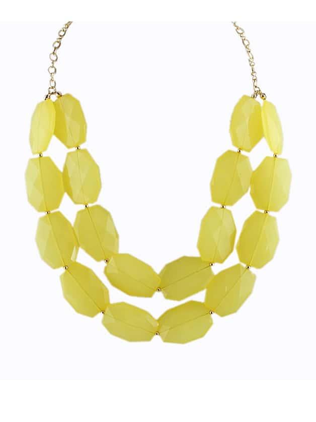 Yellow Beads Doublelayer Zinc Alloy Shorts Women Choker Statement Necklace New 2014 Trendy Summer Designer
