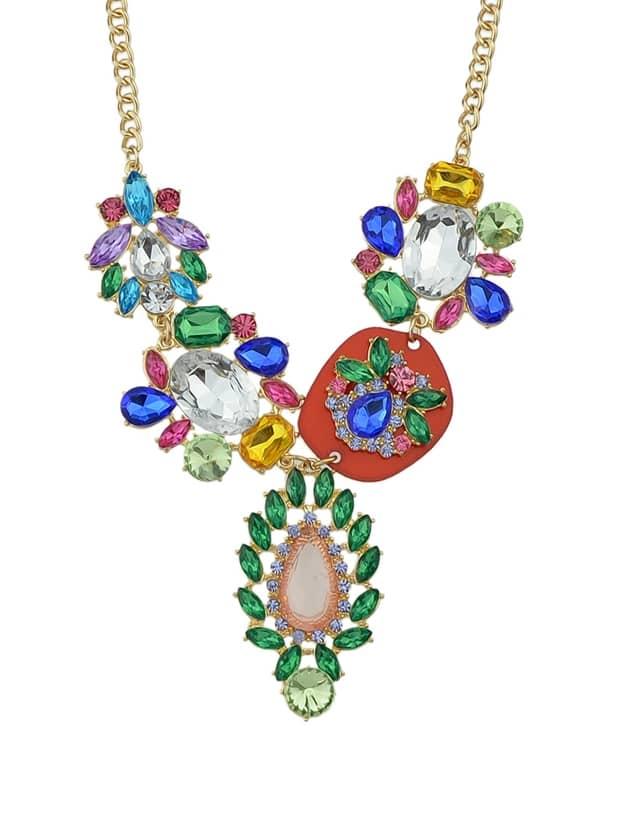 Luxury Colorful Rhinestone Gold Color Alloy Kolye Choker Necklace Fashion Bijoux For Women