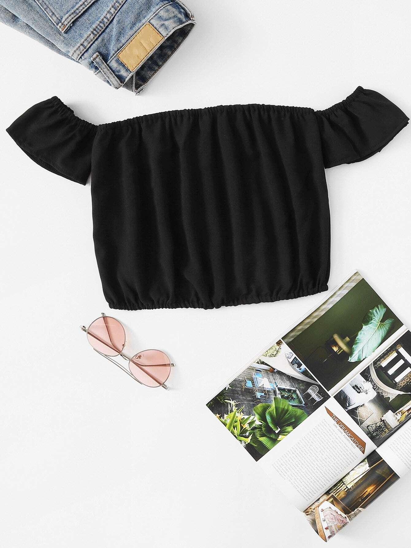 Купить Повседневный Одноцветный Черный Блузы+рубашки, null, SheIn