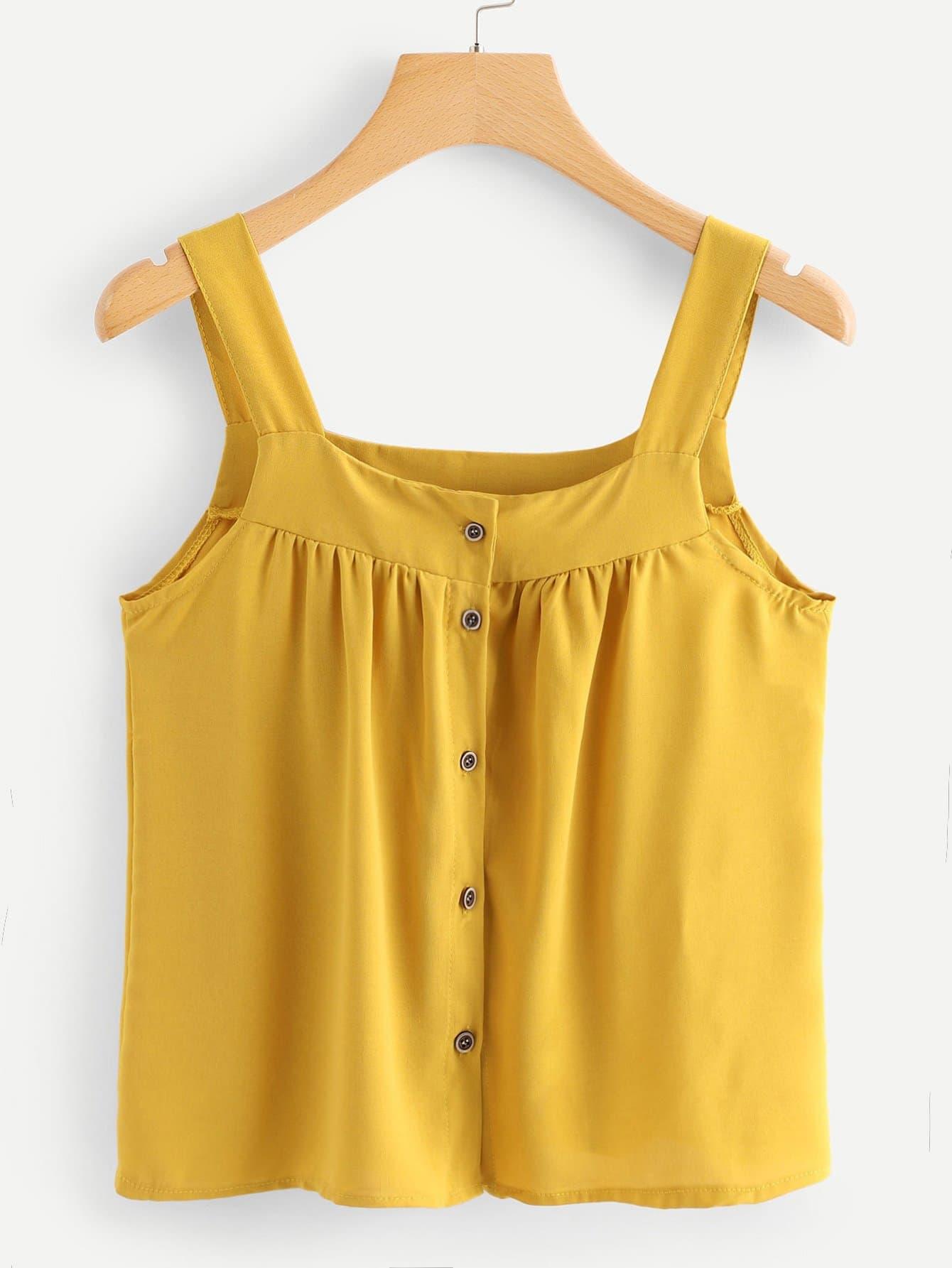 Купить Повседневный Одноцветный Пуговица Желтый Блузы+рубашки, null, SheIn