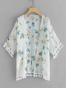 Fringe Trim Floral Kimono