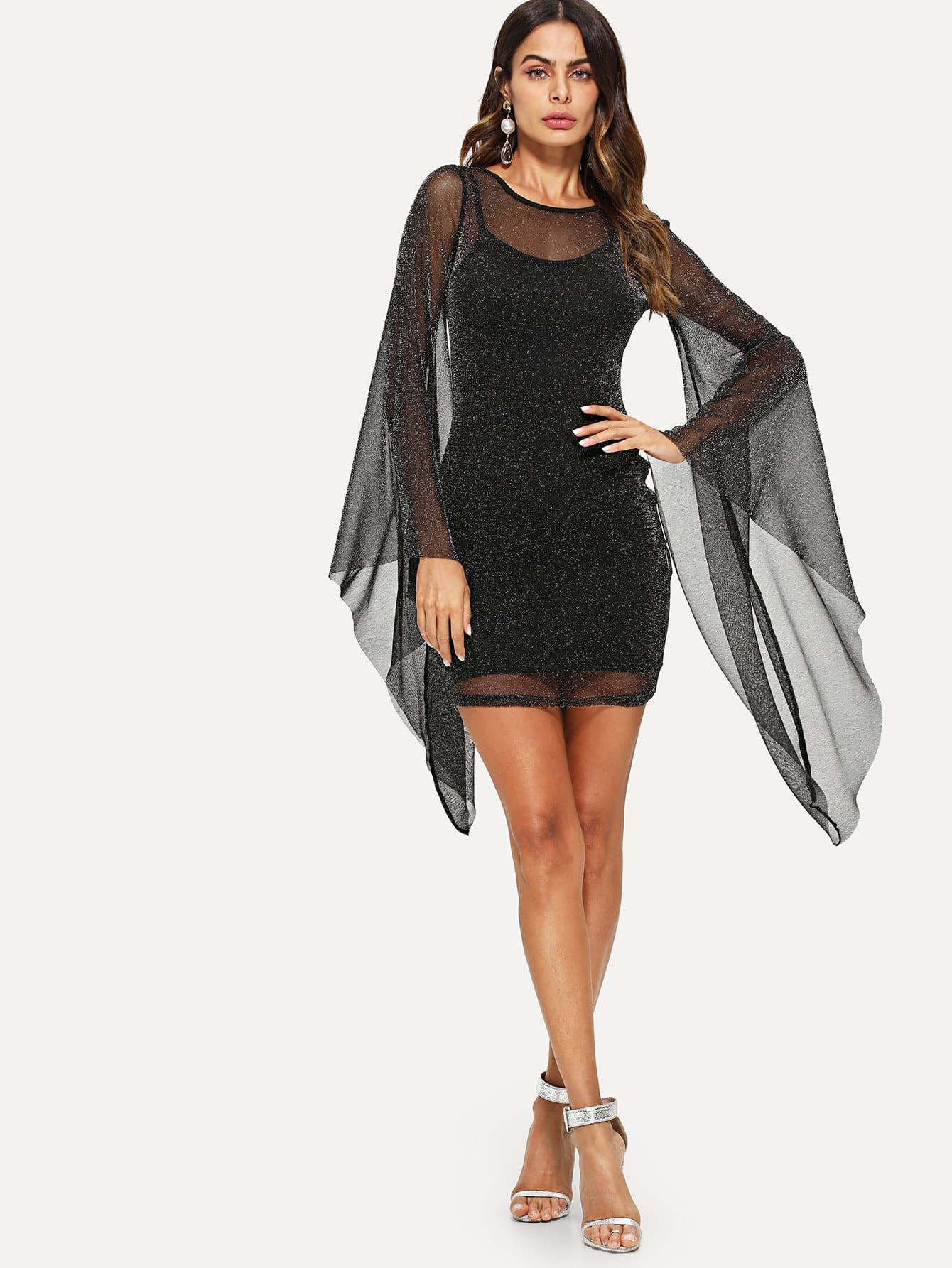 Exaggerate Bell Sleeve Glitter Mesh Dress with Cami exaggerate bell sleeve buttoned keyhole dress
