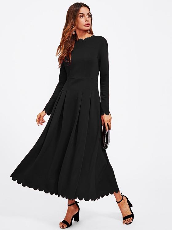 20340de97fe7 Scallop Edge Boxed Pleated Fit   Flare Dress