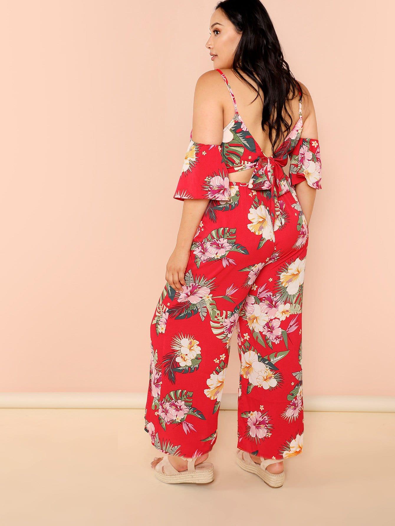 Flower Print Wide Leg Cami Jumpsuit ruffle embellished flower print cami jumpsuit