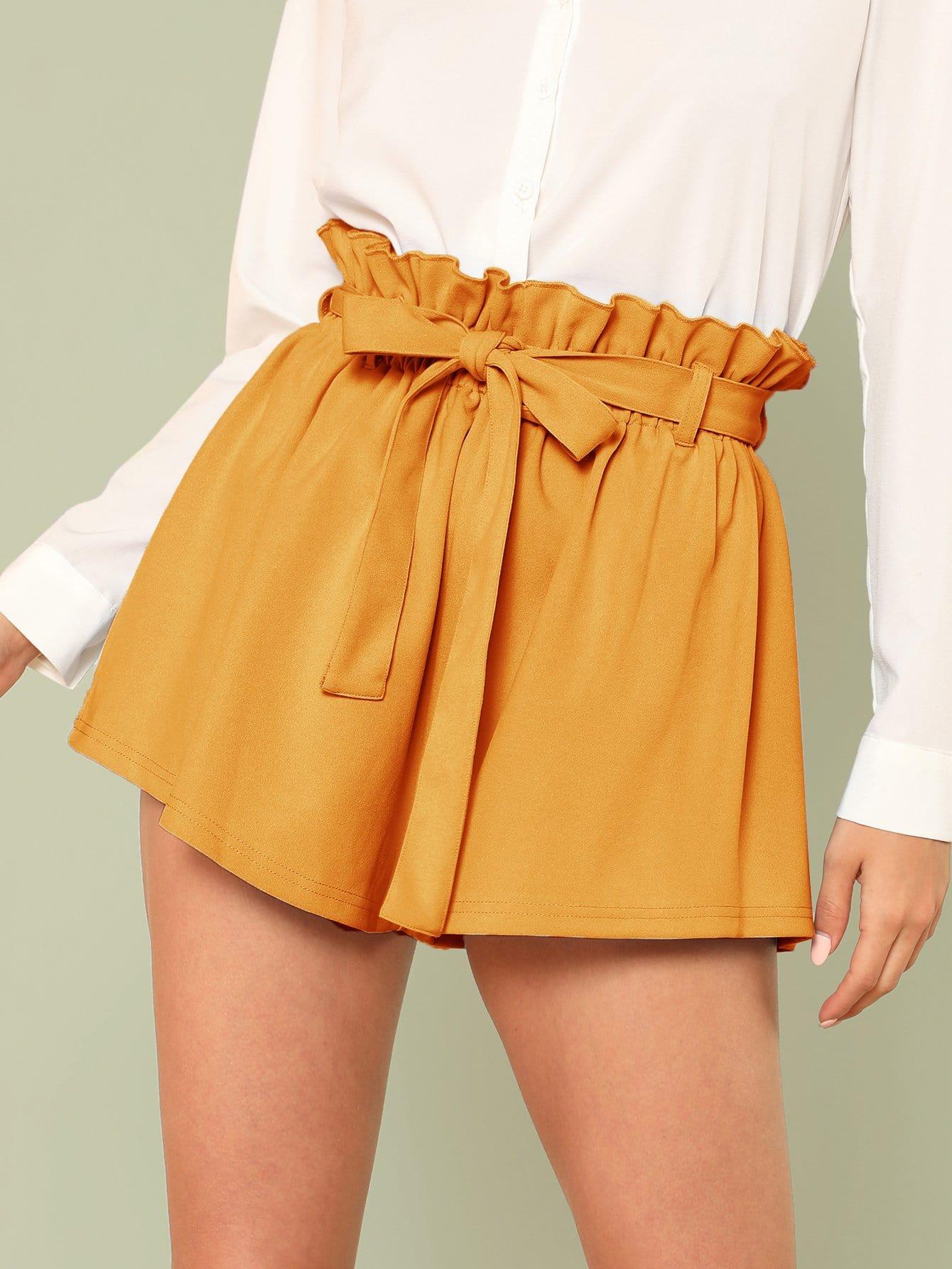 Ruffle Trim Self Tie Waist Shorts self tie waist ruffle skirt