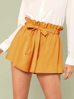Ruffle Trim Self Tie Waist Shorts