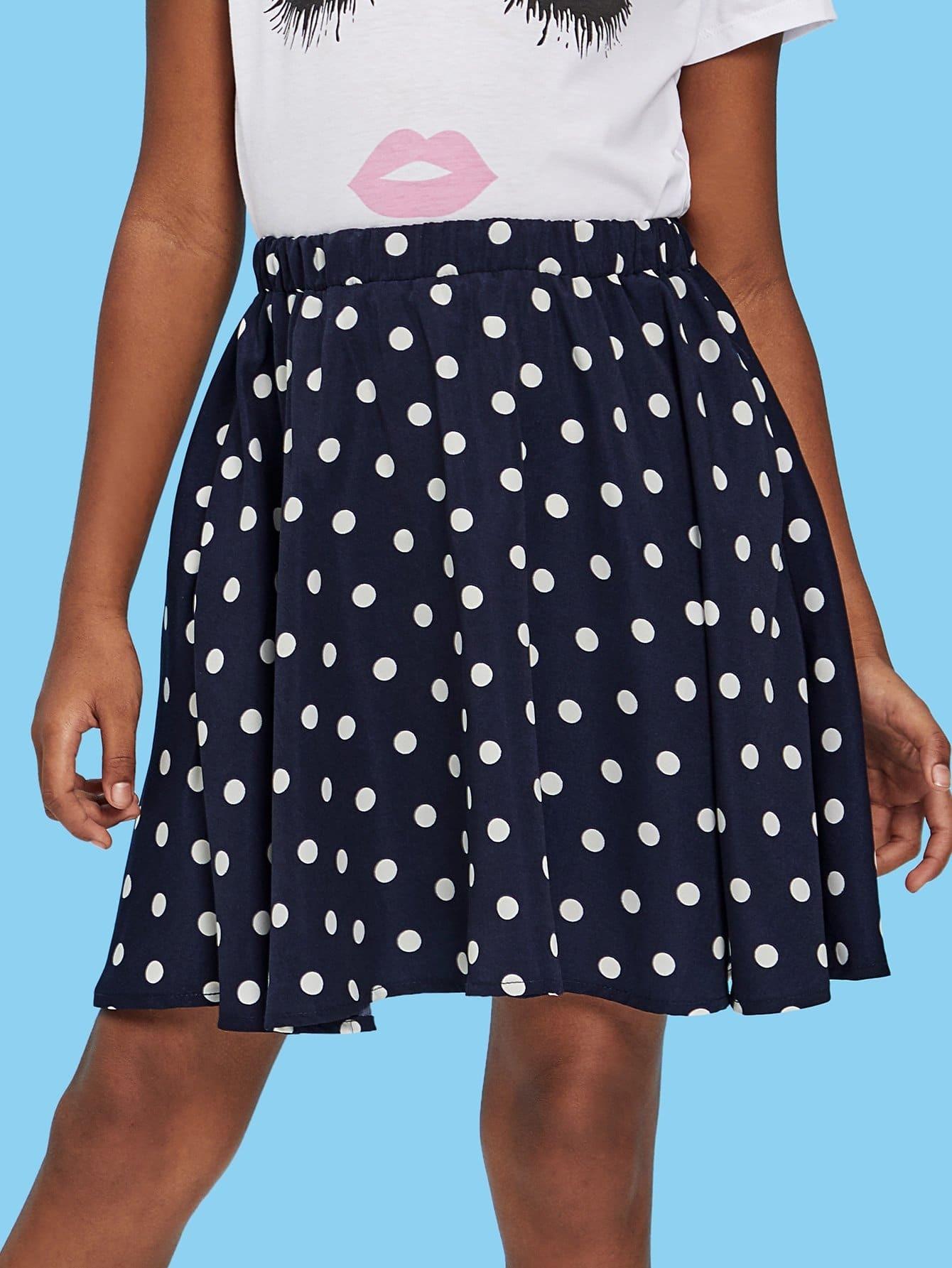 цена Girls Polka Dot Elastic Waist Skirt