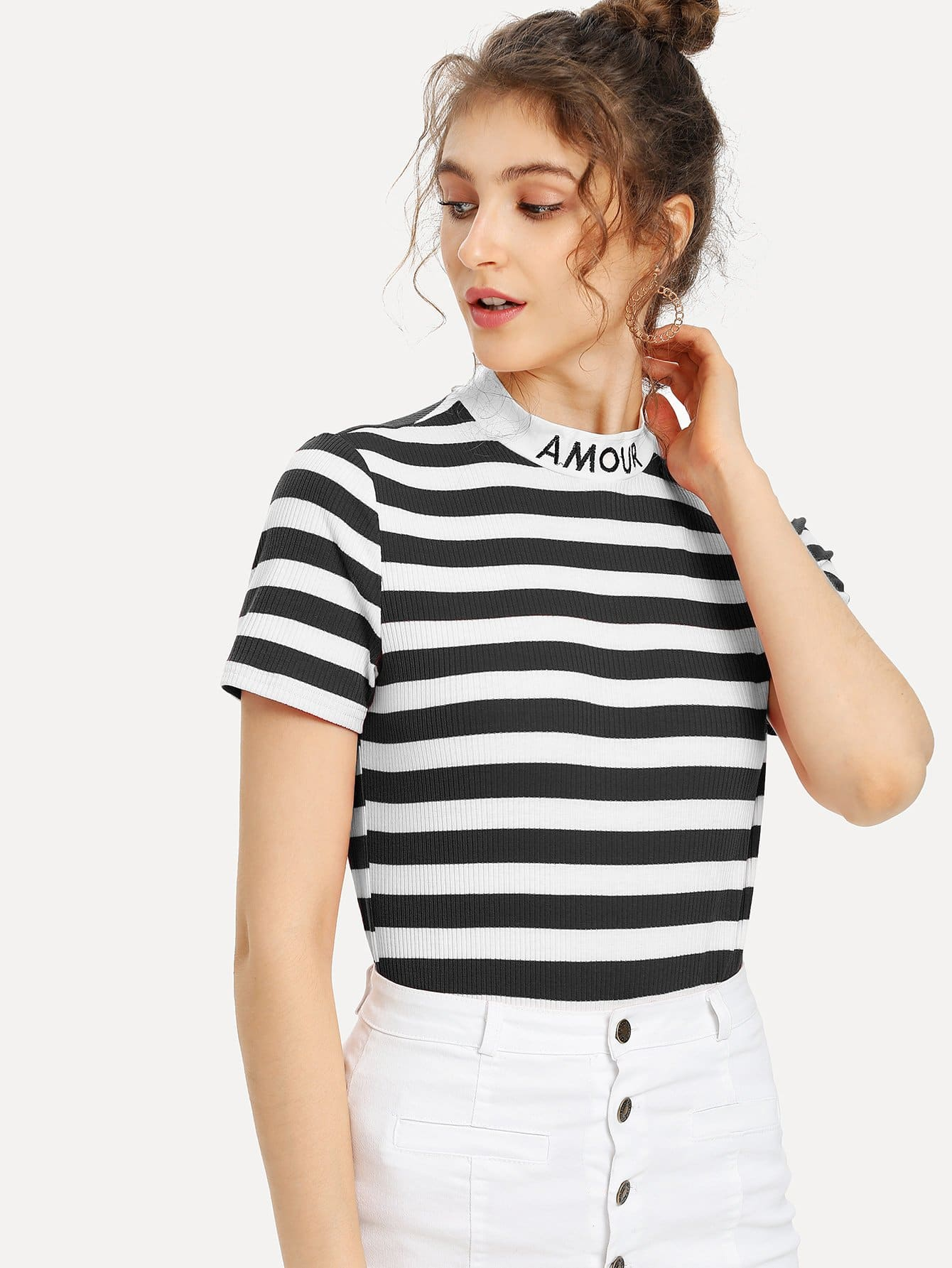 Embroidered Mock Neck Striped Ribbed T-shirt back pleat embroidered striped shirt