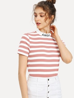 Embroidered Mock Neck Striped Ribbed T-shirt