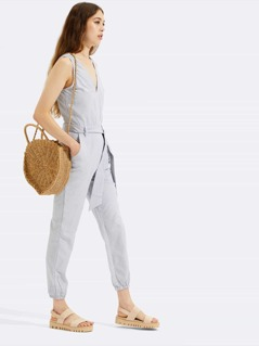 Fine Stripe V-Neck Jumpsuit