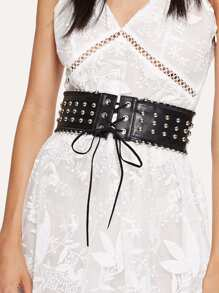 Lace Up Studded Belt