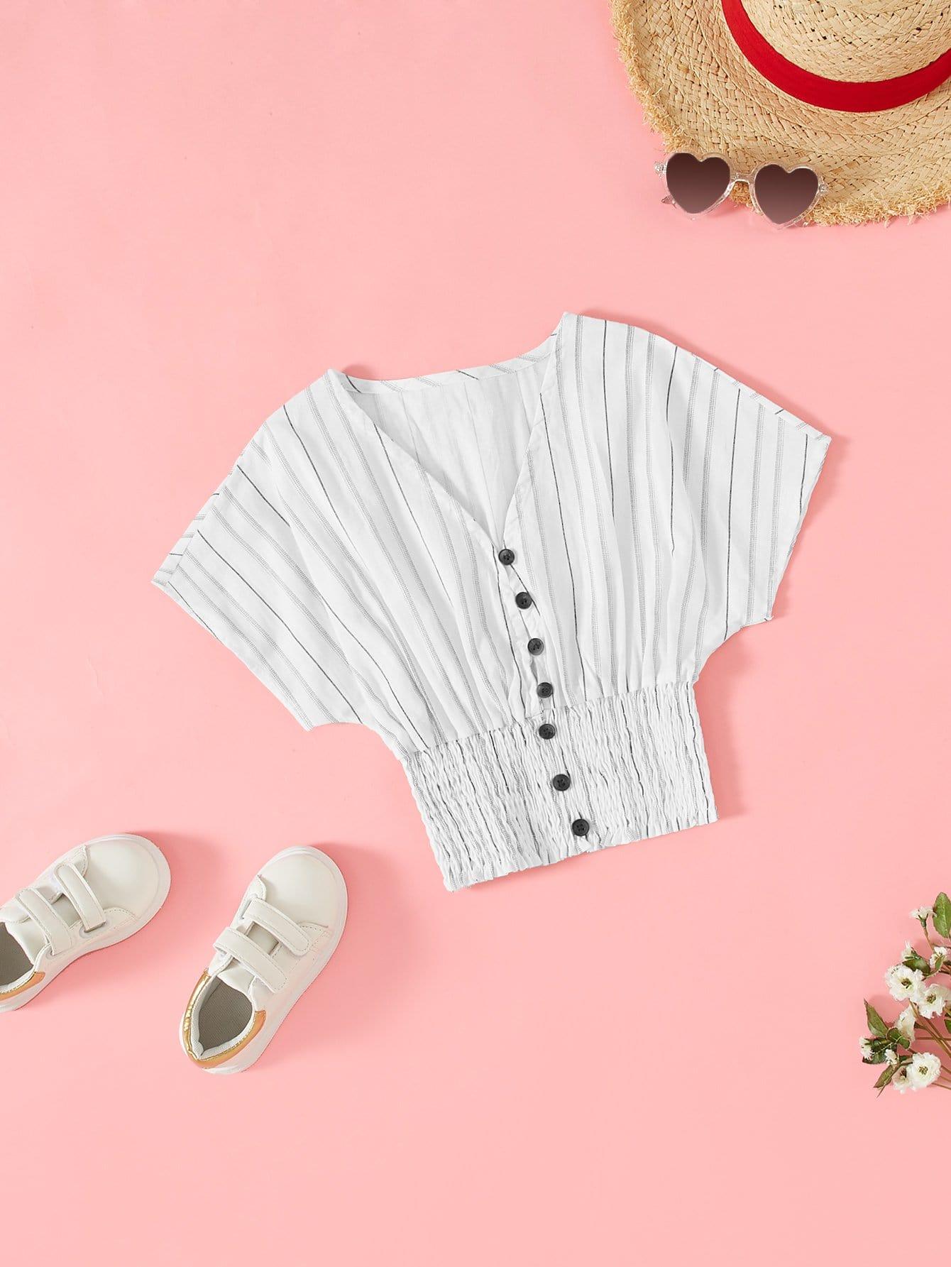 Batwing Sleeve Shirred Hem Button Up Полосатая блузка
