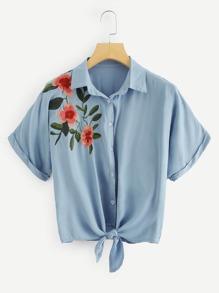 Flower Embroidered Knot Hem Shirt
