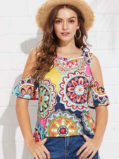 Cold Shoulder Geo Print Top