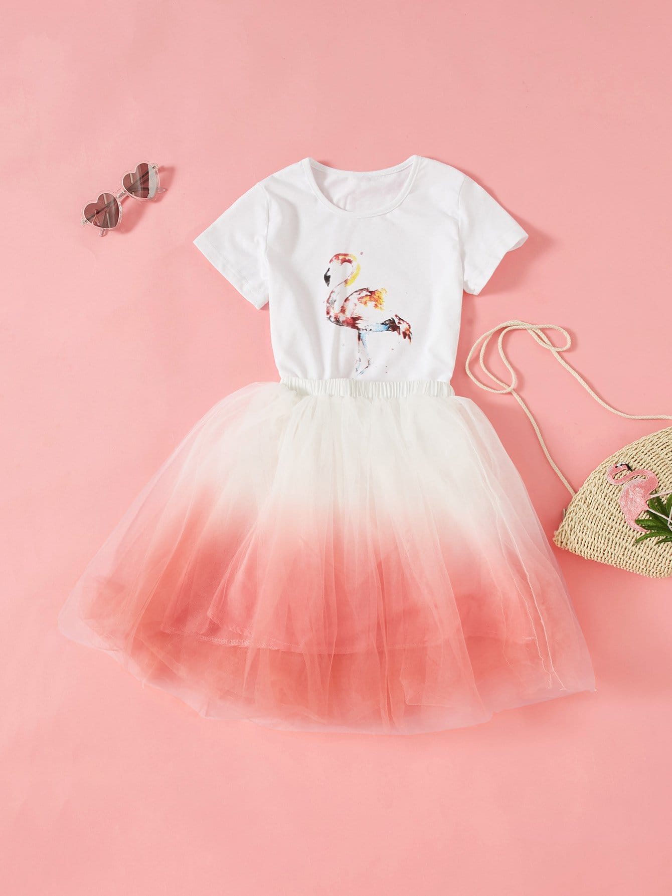 Girls 3D Applique Flamingo Top and Ombre Skirt Set my 1st st patrick day clover white top green bling sequins girls skirt set 1 8y