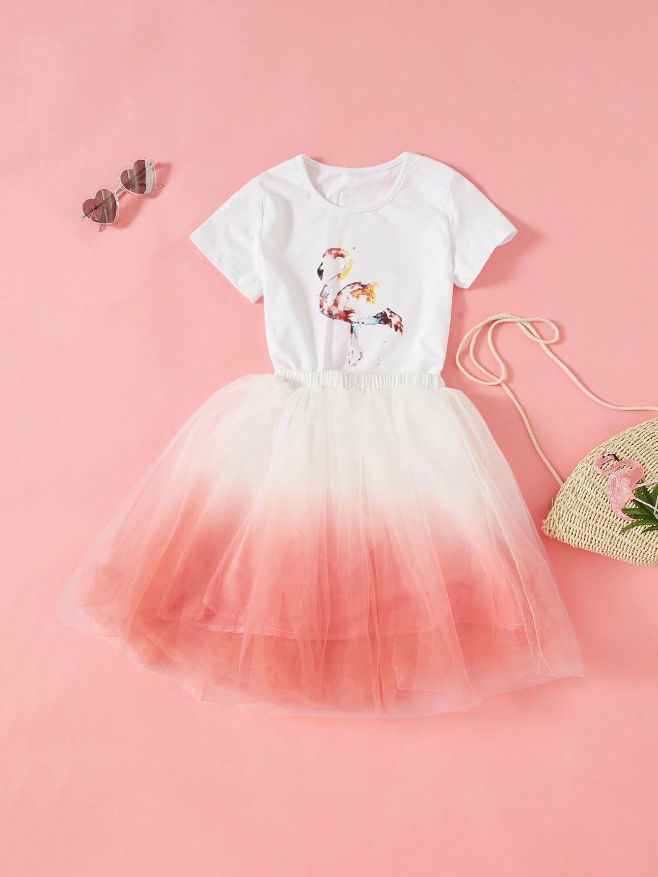 Купить Комплект топ с принтом фламинго 3d и юбка омбре, null, SheIn