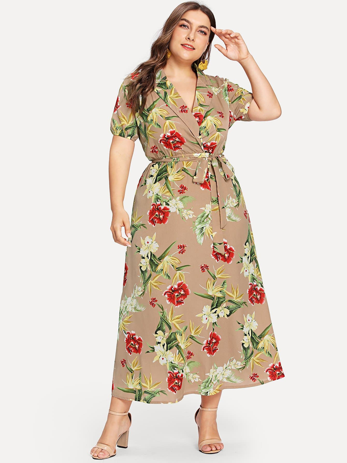 Notch Collar Wrap Front Botanical Dress notch collar floral wrap dress