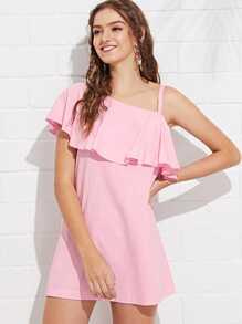 Ruffle Embellished One Shoulder Dress