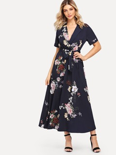 Notch Collar Wrap Front Belted Botanical Dress