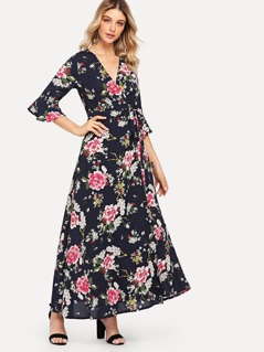Flounce Sleeve Floral Wrap Dress