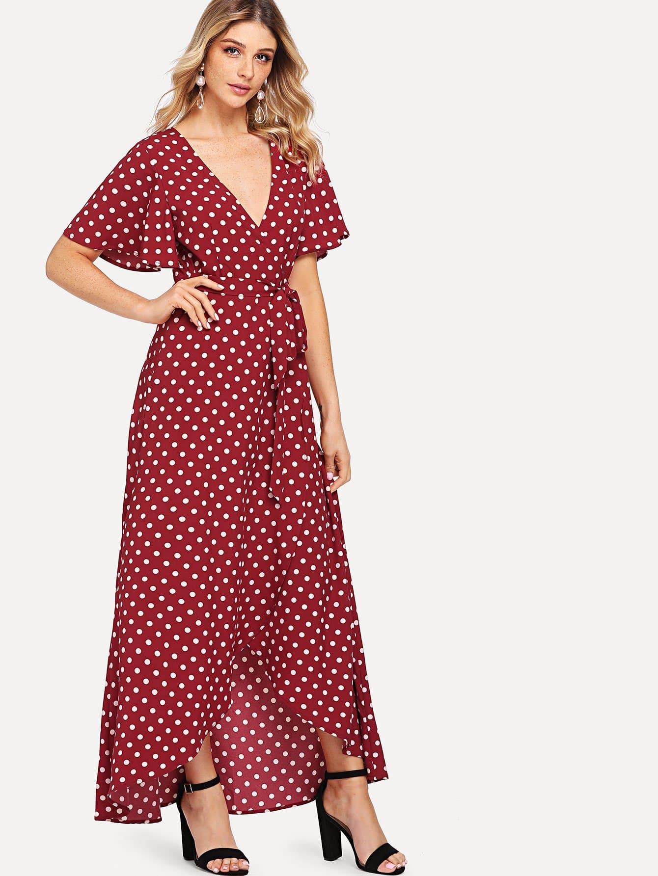 Платье с надписью Veck Neck Polka