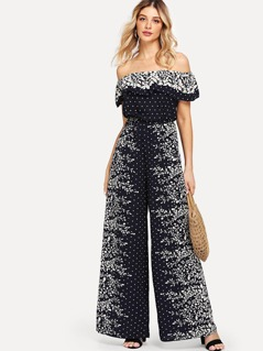 Flounce Off Shoulder Mixed Print Jumpsuit