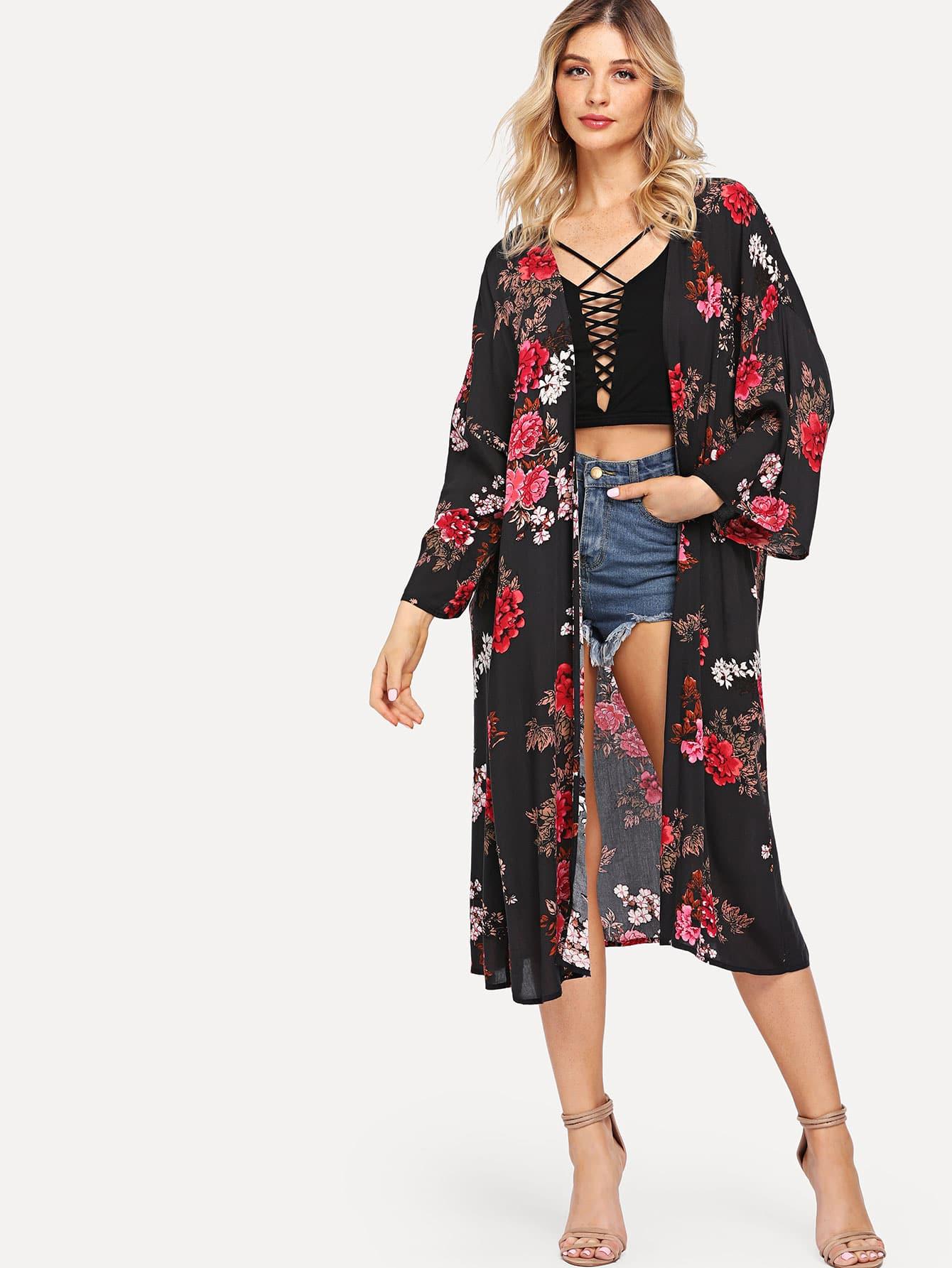 Flower Print Longline Kimono rib knit longline kimono