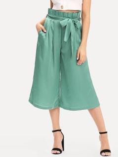 Pleated Waist Culotte Pants with Belt