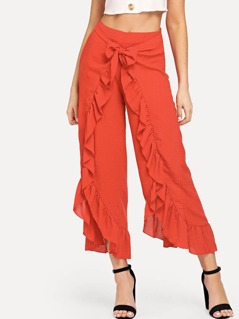 Ruffle Trim Wrap Pants