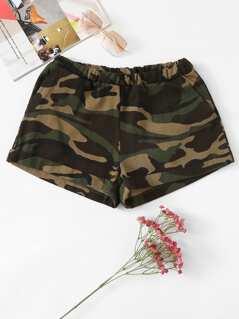 Cuffed Leg Camo Shorts