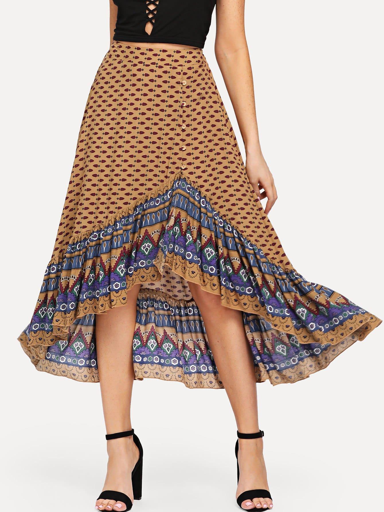 Buttoned Front Asymmetric Hem Ornate Print Skirt asymmetric hem spot skirt