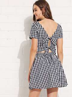 Square Neck Gingham Top & Skirt Set