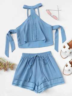 Lace Insert Halterneck Top & Shorts Set