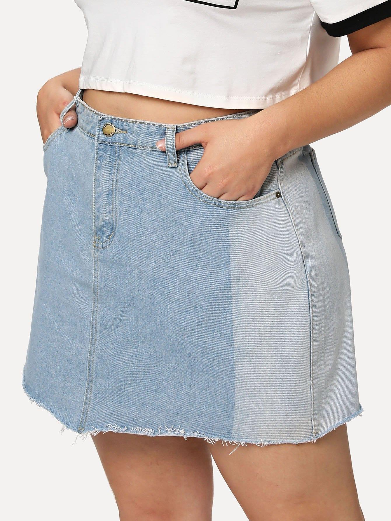 Two Tone Raw Hem Denim Skirt girls single breasted raw hem skirt