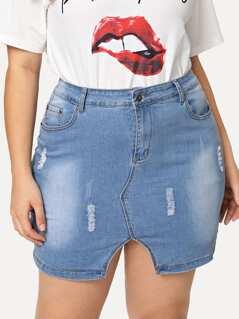 Split Front Ripped Denim Skirt