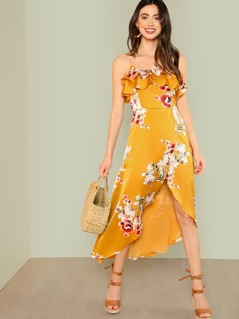 Layered Flounce Lace Up Back Floral Wrap Dress