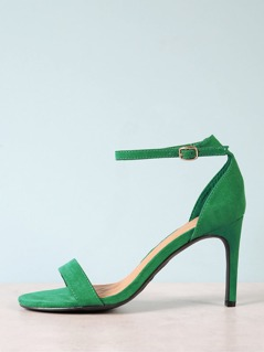 Faux Suede Ankle Strap Stiletto Heel