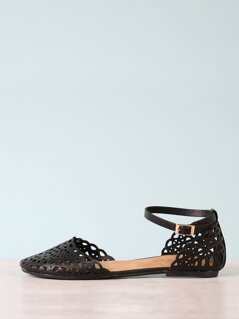 Perforated Scalloped Band Ankle Strap Flat