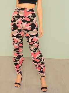 Camo Print Zip Hem Sweatpants