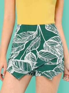 Leaves Print Overlap Front Skirt Shorts